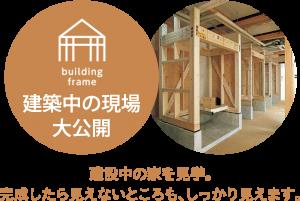 構造見学 建設中の家を見学。完成したら見えないところも、しっかり見えます。