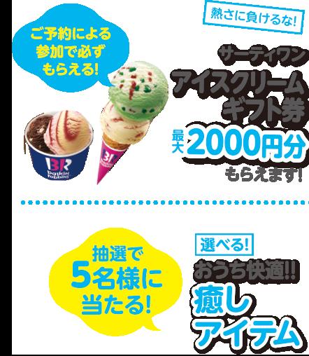 サーティワンアイスクリーム最大2000円分